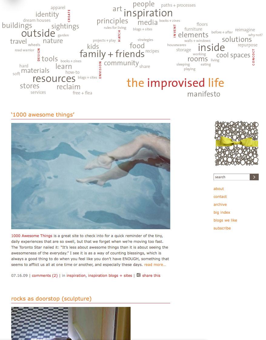 improvised life homepage '09