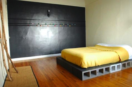 d-i-y concrete block bed frame