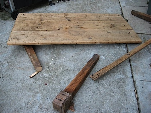 deconstructing rustic antique table