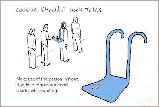 Dominic Wilcox's Queue shoulder hook table