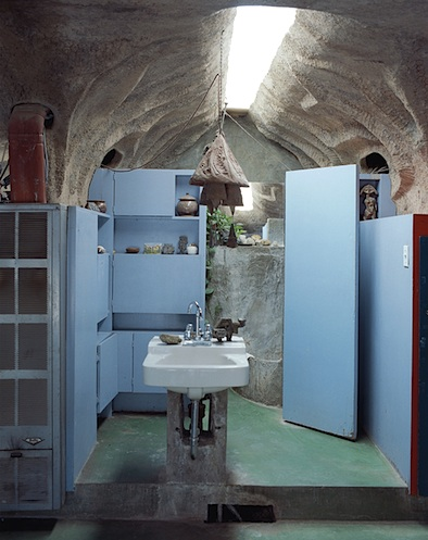 Paulo Soleri Arcosanti Bathroom cabinet shelves