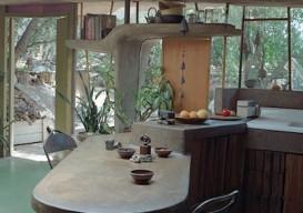 Paolo Soleri Archosanti multi-level kitchen island