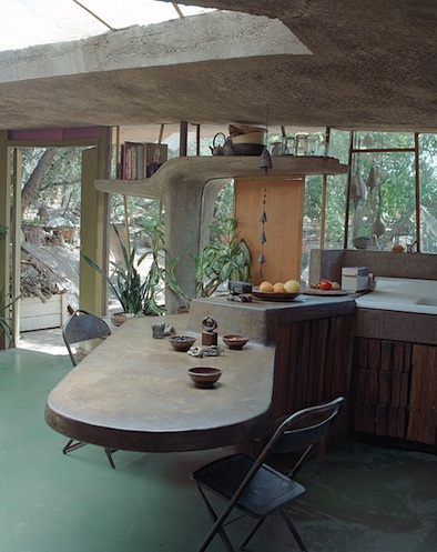 Paolo Soleri Archosanti multi-level kitchen island