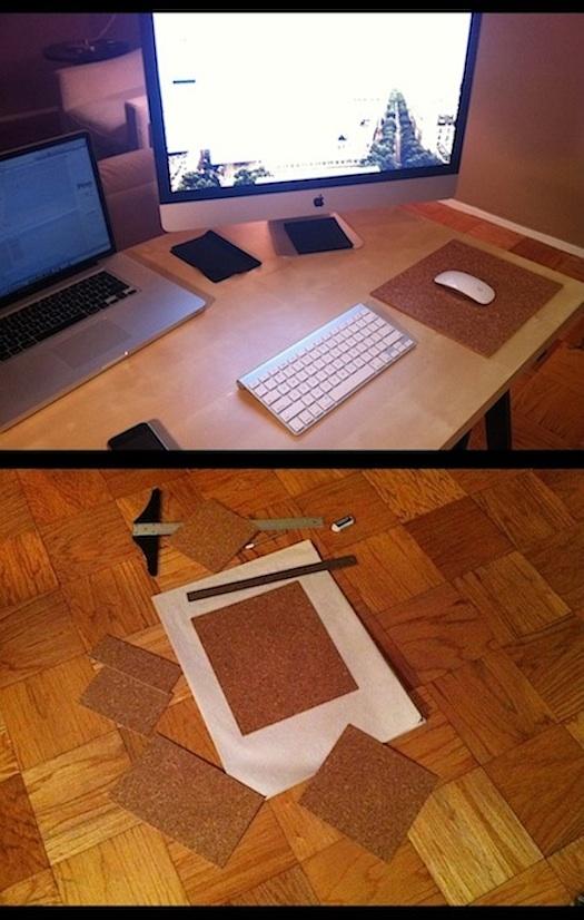 d-i-y cork mousepad mouse pad
