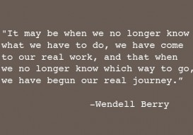 Wendell Berry It may be that when we no longer know...