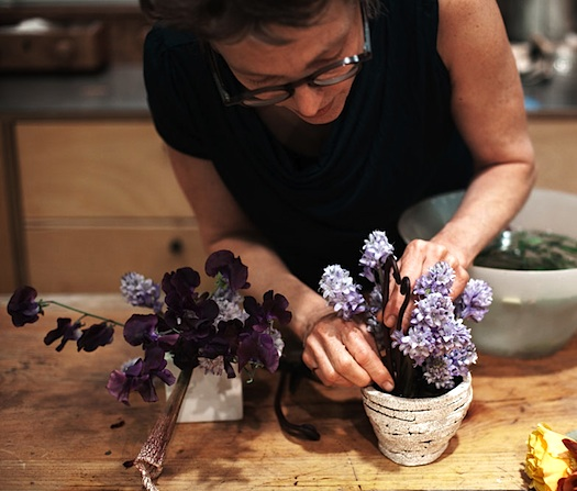 Belle Meyer arranging flowers Fleurs Bella