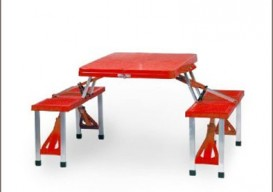 picnic table red open
