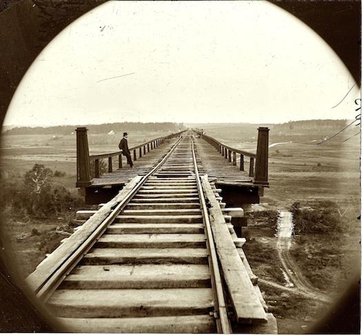vintage photo of railroad tracks