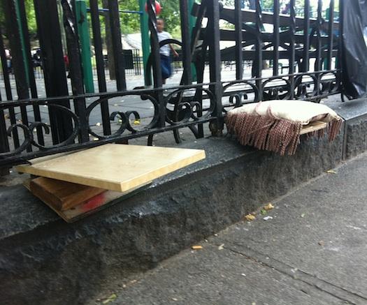 makeshift seating in Harlem, NY