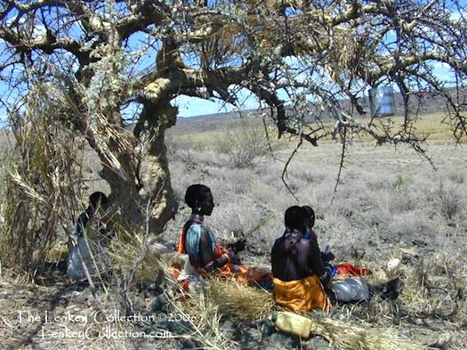 Masai making jewelry Leakey collection