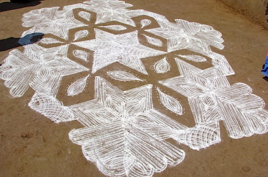 Indian Kolam chalk welcome image