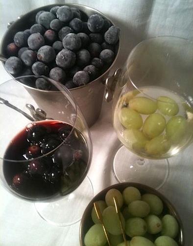 "wine glass w frozen grape ""ice cubes"""