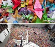 giant origami for Japan by vic muniz