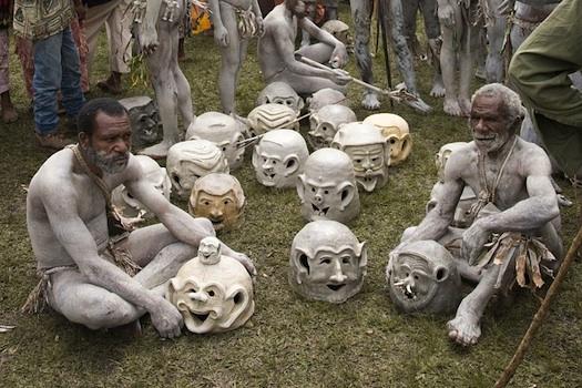 Asaro Mud Men Taking a Break