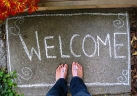welcome mat, chalk