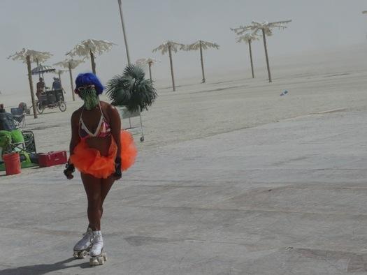 Burning Man roller skater