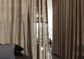 Scott Newkirk's Brooklyn apt burlap curtains