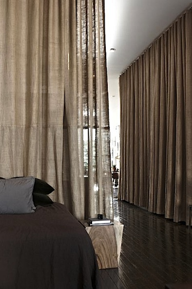 Scott Newkirk's Brooklyn apt burlap curtains