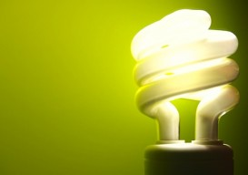 CFL light bulb lit
