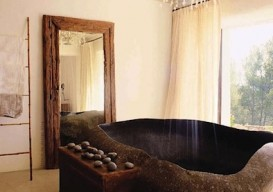Bali sculpted granite bathtub
