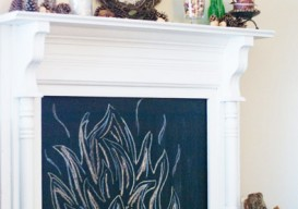 mantle with chalkboard fire