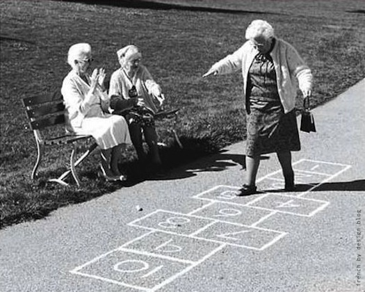 old ladies playing hopscotch