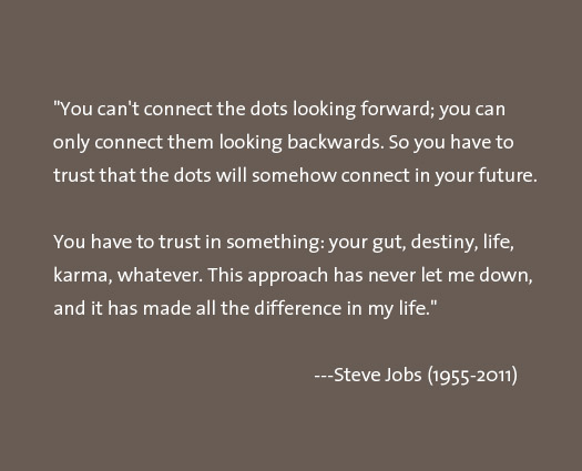 steve jobs quote, connect the dots, have faith