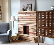 d-i-y stacked wood mantle