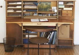 mid-century modern folding desk