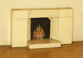dollhouse fireplace with virtual fire
