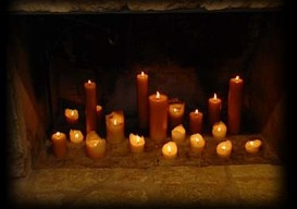 fireplace with pillar candles