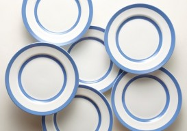 blue striped Cornishware dinner plates