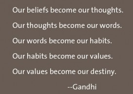 "Gandhi quote ""Our beliefs become..."""