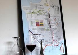 framed Metro Wine Map of France