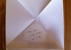 triangular letter opened with message