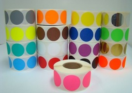 rolls of round stickers