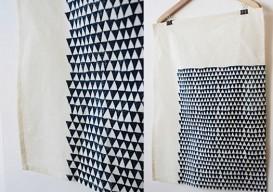 blue triangle print tea towels