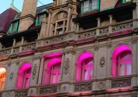pink light building