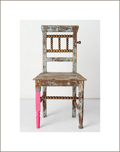 One Chair Or Table Leg Painted Pink