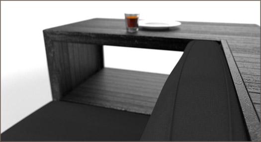 Apart's black shipping pallet sofa
