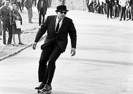 suited skateboarder