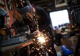 Chris Hackett welding
