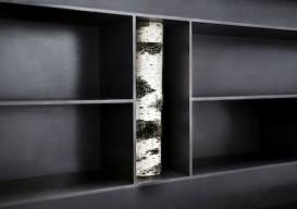 bookshelf with birtch log 1