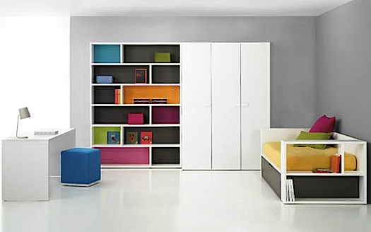 bookshelf with colored panels