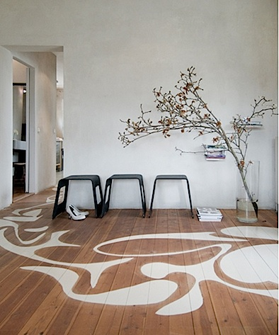 paint stenciled on floor