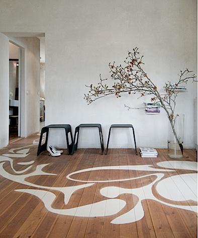 paint stenciled on floor