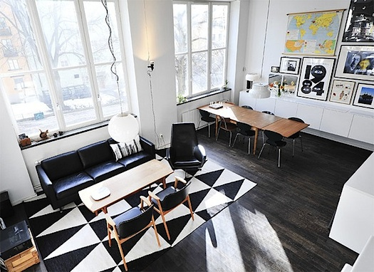geometric rug on black floor