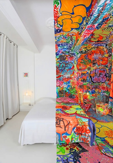 half white half graffiti hotel room