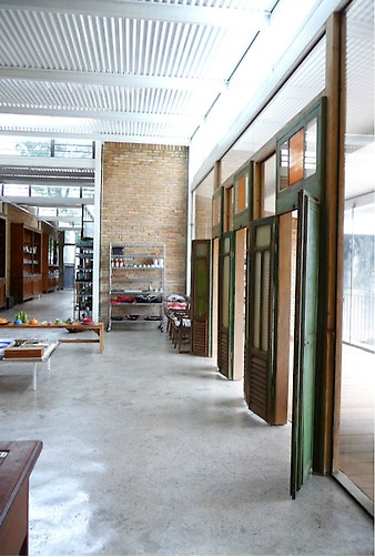 indoor corrugated tin ceiling