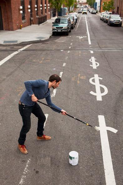 Dollar sign money street lines
